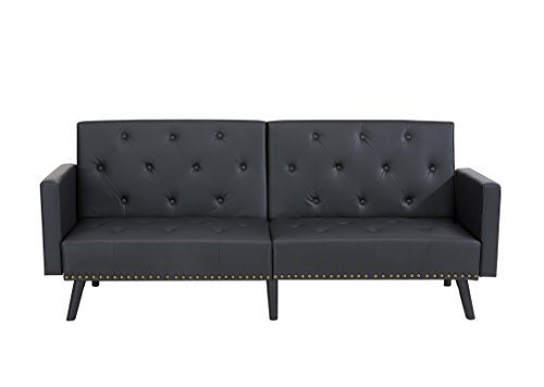 Naomi Home Convertible Tufted Split Back Futon Sofa Black