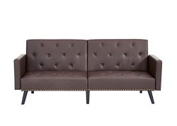 Naomi Home Convertible Tufted Split Back Futon Sofa Espresso/Faux Leather