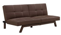 DHP Delaney Splitback Futon Compact Modern Design, Brown