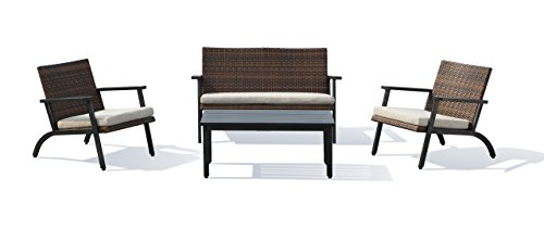 Lourde Living Gold Collection Ko Olina 4 Piece Rattan Wicker and Aluminum Outdoor Patio Furnitur ...