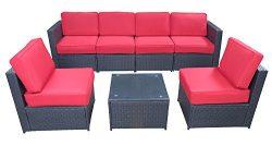 MCombo 6085 7 PC Cozy Outdoor Garden Patio Rattan Wicker Furniture Sectional Sofa (Red)