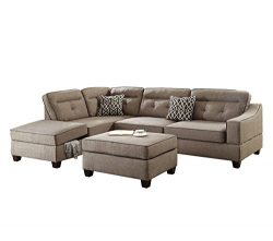 Poundex F6522 Bobkona Kathie Sectional Set, Mocha