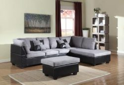 GTU Furniture Microfiber Sectional Couch Sofa Living Room Set, 3 Color Available (With Ottoman,  ...