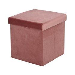 Folding Storage Ottoman Cube 38cm Cover Velvet Pink