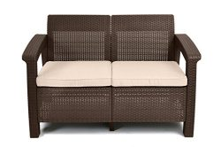 Keter Corfu Love Seat All Weather Outdoor Patio Garden Furniture w/Cushions, Brown