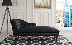 Casa Andrea Milano Elegant Velvet Chaise Lounge Living Room Bedroom (Black)