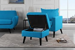 Mid-Century Modern Living Room Large Accent Chair with Footrest/Storage Ottoman (Sky Blue)