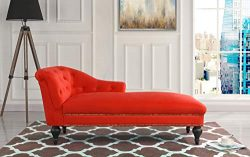 Casa Andrea Milano Elegant Velvet Chaise Lounge Living Room Bedroom (Red)