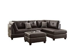 Poundex Bobkona Viola Faux Leather Left Right Hand Chaise Sectional Set Ottoman, Espresso