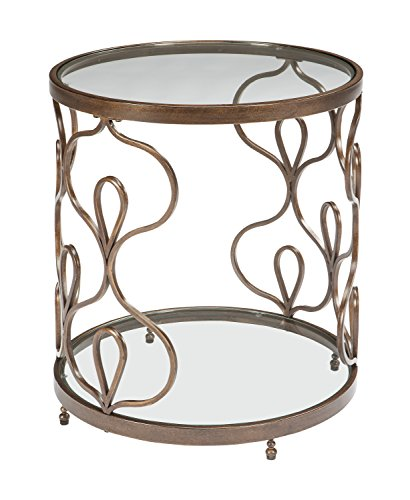 Ashley Furniture Signature Design – Fraloni Traditional Round Glass-Top End Table –  ...