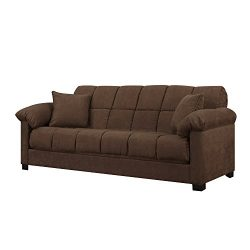 Full Sleeper Sofa – Convertible Microfiber Tufted Couch – Full Size Guest Bed – ...