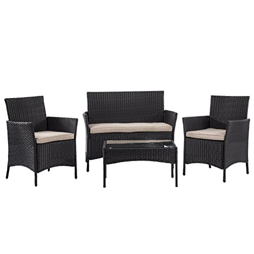 BestMassage Outdoor Furniture Patio Sofa set Wicker Rattan Sectional 4 pcs Garden Conversation S ...