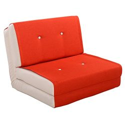 Giantex Fold Down Chair Flip Out Lounger Convertible Sleeper Bed Couch Dorm (Orange)