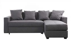 miliboo Convertible Grey Corner Sofa (Right Angle) HALVIN