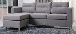 Gold Sparrow Detroit Convertible Sectional Sofa and Ottoman, Ash
