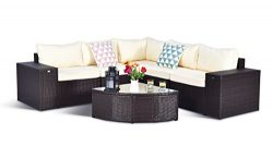 Gotland 6-Piece Set Furniture Sectional Sofa & Glass Coffee Table(Brown) with Washable Beige ...