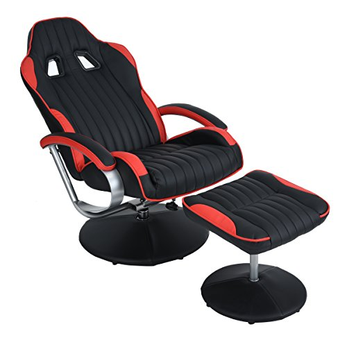 HOMY CASA Leisure Recliner and Ottoman Chair Set, Racing Car Seat Wrapped PU Leather Base Chair  ...