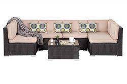 OAKVILLE FURNITURE Luxury Modern 7-Piece Outdoor Patio Garden Furniture Wicker Rattan Sectional  ...