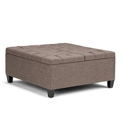 Simpli Home Harrison Coffee Table Storage Ottoman, Fawn Brown