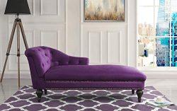 Casa Andrea Milano Elegant Velvet Chaise Lounge Living Room Bedroom (Purple)