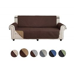 CALA Loveseat Sofa Slipcovers, Reversible Couch Slipcover Furniture Protector with Elastic Strap ...