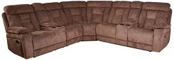 Homelegance Rosnay Manual Reclining Sectional with Console, 108″W, Chocolate Fabric