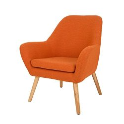 Glitzhome Mid Century Accent Chair Living Room Furniture Armchair, Orange