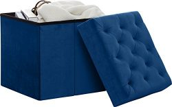 Decor Venue Foldable Velvet Tufted Storage Ottoman Square Cube Foot Rest Stool/Seat – 17&# ...