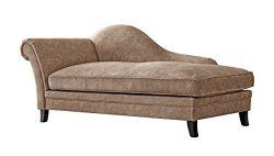 Acanva Mid Century Vintage Velvet Living Room Chaise Sofa, Almond