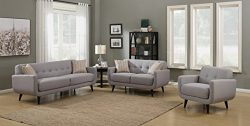 AC Pacific Crystal Collection Upholstered Gray Mid-Century 3-Piece Living Room Set with Tufted S ...
