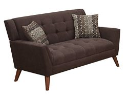 Furniture World Mid Century Love Seat, Chocolate