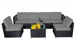 MCombo 6085 7 PC Cozy Outdoor Garden Patio Rattan Wicker Furniture Sectional Sofa (Grey)