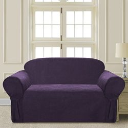 Comfy Bedding Microsuede Sofa Furniture Slipcover with Elastic Straps under Seat Cushion (Purple ...