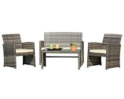 Suncrown Outdoor Furniture Grey Wicker Conversation Set with Glass Top Table (4-Piece Set) All-W ...