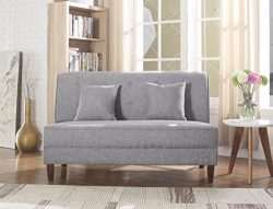 NHI Express 73023-62GY Button Tufted Loveseat, Gray