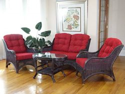 Jam Rattan Wicker Living Room Set 4 Pieces 2 Lounge Chair Loveseat/sofa Coffee Table Dark Brown