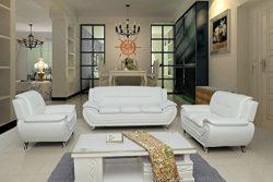 Container Furniture Direct S5399-3PC Michael 3-Piece Living Room Set, Cream White