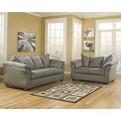 Signature Design by Ashley Flash Furniture Darcy Living Room Set in Cobblestone Microfiber