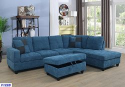 Beverly Fine Furniture SH122B Right Facing Russes Sectional Sofa Set Ottoman, Blue
