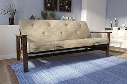 DHP Bergen Wood Arm and Metal Futon Frame with 6-inch Coil Mattress, Mid Century Design, Convert ...