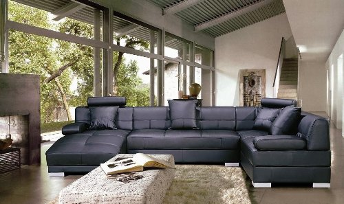 Contemporary Black Leather Sectional Sofa