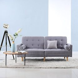 Divano Roma Furniture Mid Century Modern Splitback Tufted Linen Fabric Futon (Light Grey)