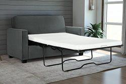 Signature Sleep Casey Velvet Sofa with Memory Foam Mattress, Twin Size – Gray
