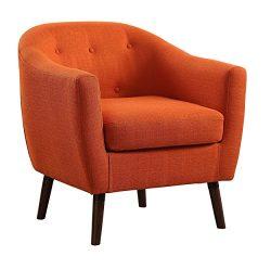 Homelegance Lucille Fabric Upholstered Pub Barrel Chair, Orange