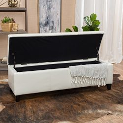Skyler Off-White Leather Storage Ottoman Bench