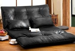 Merax Pu Leather Foldable Modern Leisure Sofa Bed Video Gaming Sofa with Two Pillows, Black