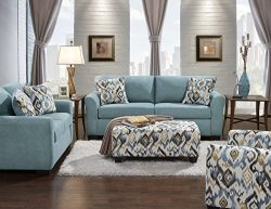 Roundhill Furniture LAF3300SC Liverpool Microfiber 2-Seater Sofa and Loveseat Set with Pillows i ...