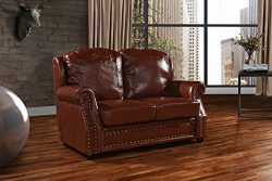 Leather Match Sofa 2 Seater, Living Room Couch Loveseat with Nailhead Trim (Light Brown)