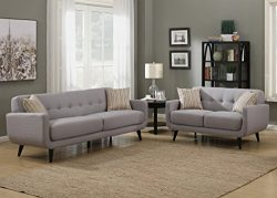 AC Pacific Crystal Collection Upholstered Gray Mid-Century 2-Piece Living Room Set Tufted Sofa L ...