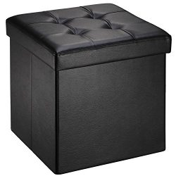 "Ollieroo Faux Leather Folding Storage Ottoman Bench Foot Rest Stool Seat Black 15""X15&#822 ..."